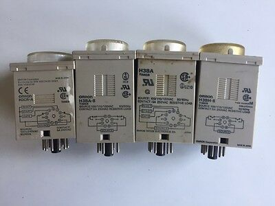 Lot of FOUR(4) Omron Timers H3CR-A, H3BA, H3BA-8, H3BH-8