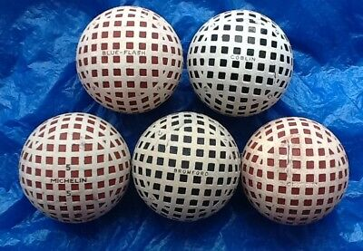 5 x DIFFERENT NAMED MESH GOLF BALLS c1920-1930