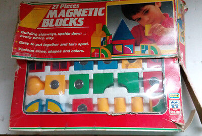 Juego Vintage, Magnetic Blocks 27 Pieces De Playwell, Años 80