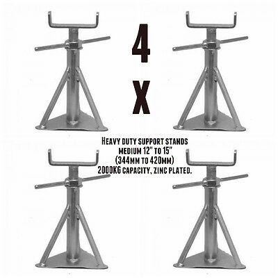 """Static Caravan Axle Stand x 4 Medium 12"""" to 15"""" (344mm to 420mm) NCC Approved"""