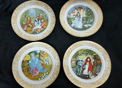 "Lot of 4 ~ Franklin Porcelain Grimm's Fairy Tales  8"" Plates  ~ 1978"