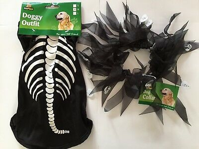 Halloween Skeleton Outfit with Collar for Dogs S/M/L Trick or Treat NEW BNWT