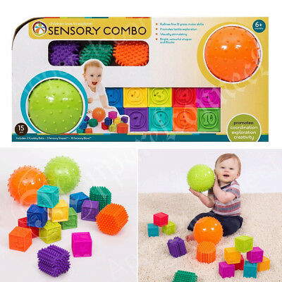 Hedstrom Sensory Shapes and Blocks 15 Piece Combo Pack (6+ Months) NEW