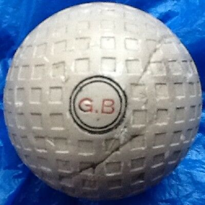 NICE ORIGINAL PAINT  G.B  MESH GOLF BALL c1915