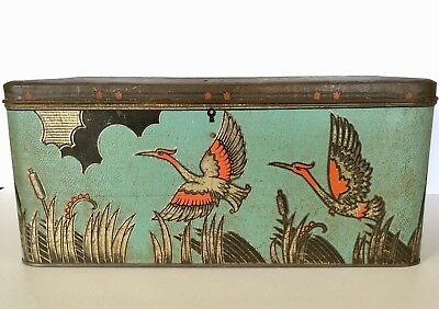 VINTAGE 1920s LARGE ART NOUVEAU DECO ASIAN FLAMINGO TIN BOX WITH KEY