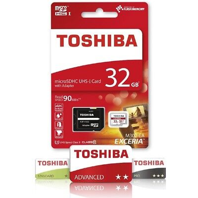 Toshiba Micro SD SDHC UHS-I U3 card + Adapter - 32GB for 4K, 3D Go Pro Hero 3+4