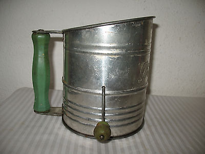 Bromwell Flour Sifter Vintage XXX Extra Heavy Green Wood Handle Beater Rotary