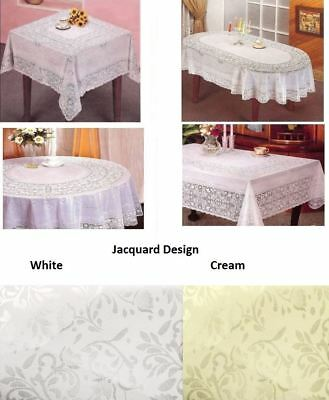 Vinyl Jacquard Design Embossed Lace Tablecloth Cover Round Square Oval Rectangle