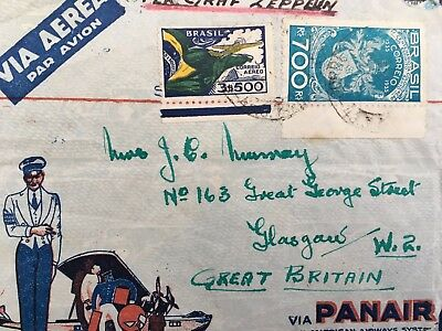 Cover from Brazil to Glasgow marked per graf zeppelin    99p start