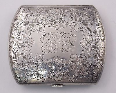 Vintage Watrous Mfg Co Hand Chased Sterling Silver Cigarette Case w/ Mono #5692