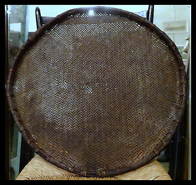 Antique Threshing rice-winnowing Bamboo tray Burma Primitive