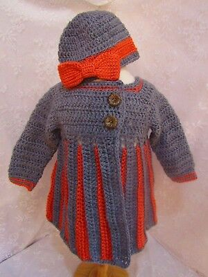 Crocheted Sweater w/ Beanie-Eloise Pattern-Handcrafted-Grey and Peach