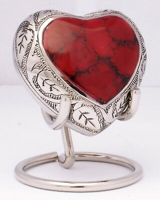 Mini Heart Urn for Ashes,Cremation memorial Funeral Small Keepsake - FREE STAND