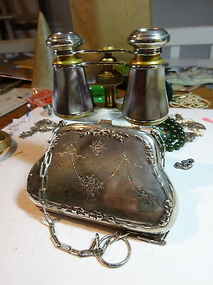 Antique Rathenow Germ. Dark MOP Opera Glasses & Silver Plate Metal Finger Purse
