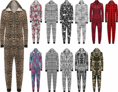 New Womens Aztec Camouflage Leopard Playsuit Gerber Long Hooded Jumpsuit Onesie