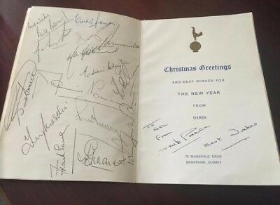 Tottenham Hand Signed 1963 European Cup Winners Christmas Card - Full Team