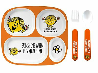 Mr Men Melamine Dinner Set Plate Cup and Cutlery (L&P) Little Miss Sunshine