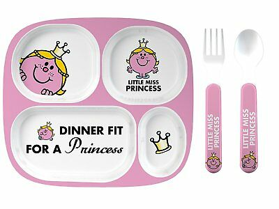 Mr Men Melamine Dinner Set Plate Cup and Cutlery (L&P) Little Miss Princess