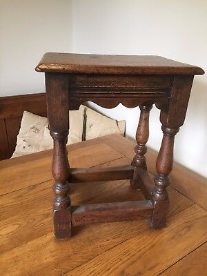 Small Antique Oak Joint Stool Side Table