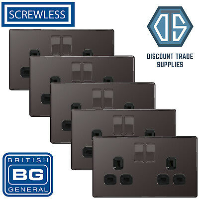 5x BG Screwless Double Socket Black Nickel Black Inserts FBN22B 13Amp Flat plate