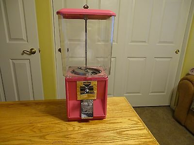 Northwestern Gum Ball/Candy Machine - Heavy Square Plastic Globe, Pink, W/Key