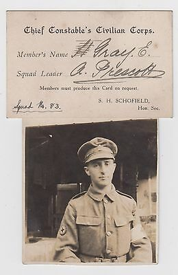 Ww1 Chief Constable's Civilian Corps Members Card Sheffield & Mauretania Interes