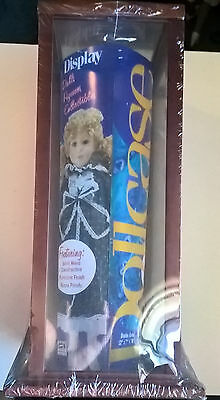New in Shrink Mahogany Trimmed Display Glass Doll / Collectables Show Case