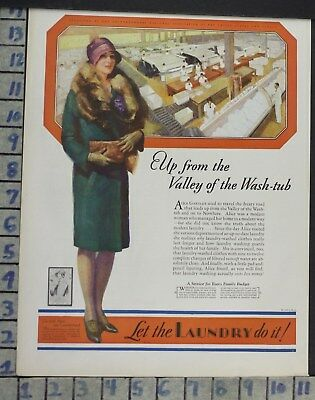1928 Laundry Clothes Dry Clean Alice Housewife Home Decor Vintage Art Ad  Co99