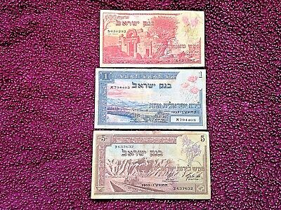 Lot of old Israeli banknotes: 500 Pruta 1955, 1 Lira 1955, 5 Lirot 1955