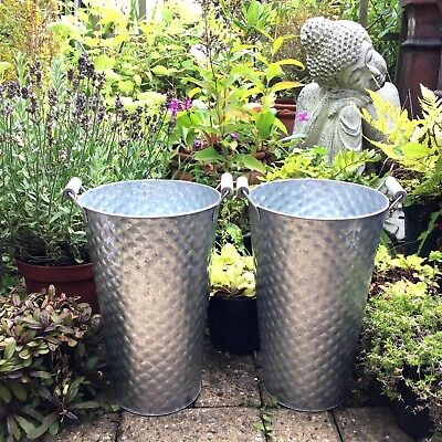 Set of 2 Tall Zinc Metal Garden Planters Flower Pots Tubs With Handles