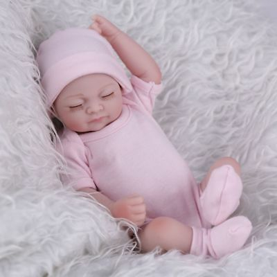 Lifelike 10'' Full Body Vinyl Baby Dolls Mini Reborn Washable Girl Doll for Xmas