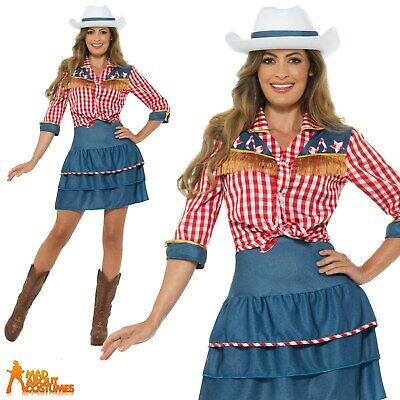 Ladies Rodeo Doll Cowgirl Costume Dolly Parton Fancy Dress Womens Cowboy Outfit