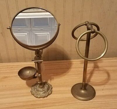 Vintage Brass Shaving Set With Mirror,Towel Rack,Brush & Duck Handle Razor ~RARE