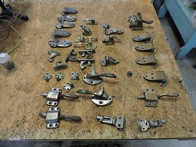 Large Antique Group Lot of Wood Ice Box Metal Hardware, Hinges/Latches, Used