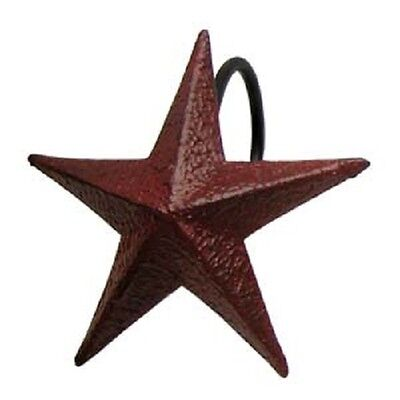 The Country House Collection Burgundy Barn Star Metal Shower Hooks