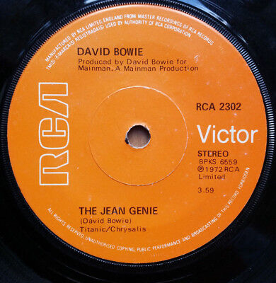 DAVID BOWIE The Jean Genie/Ziggy Stardust 7'' Single (1972) RCA2302 Solid