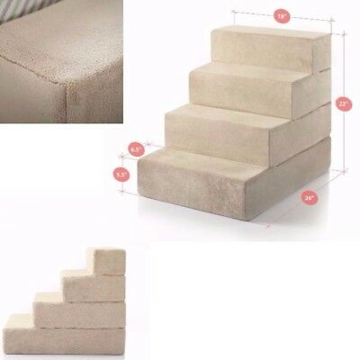 Large 4 Step Pet Ladder For Bed Steps Ramp Dog Foam Easy Up Stair Pets Portable