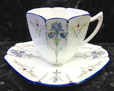 "Shelley Queen Anne Shape ""Blue Iris"" Pattern Coffee Cup & Saucer."
