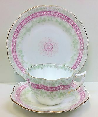 "Wileman Violet Shape ""Carnations & Border"" Pattern Tea Cup Trio."