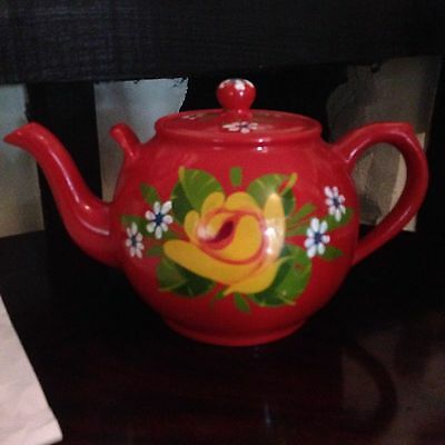 Barge Ware Teapot Hand Painted red Floral