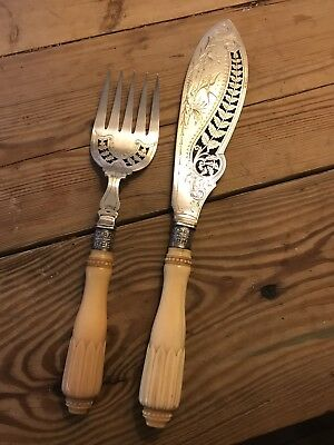 Serving Knife And Fork, Silver Plated, Handles Possibly Ivory Or Bone