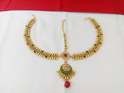 Indian Fashion Head jewelry Bollywood Ethnic Gold Plated Traditional Damini Tika