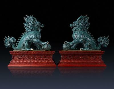"""17"""" China wood pure brass carved fine luck Foo Dogs Lions kylins pair statues"""