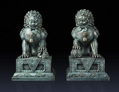 """16"""" China pure brass carved fine luck A pair of guard Foo Dogs Lions statues"""