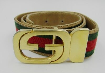 Gucci Vintage Belt Intelocking GG Buckle Web Canvas Leather Green Red 36 S
