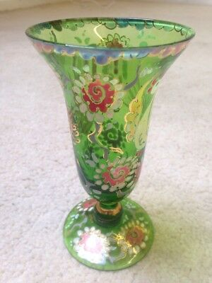 "Green Glass Vase Vintage 5.5"" Hand painted"