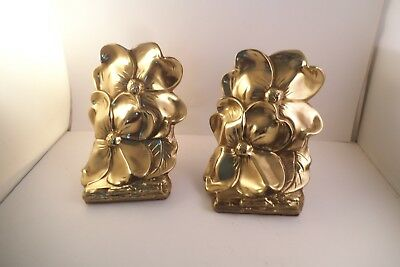 Vintage Pair of PM Craftsman Brass Metal Bookends Dogwood Flowers