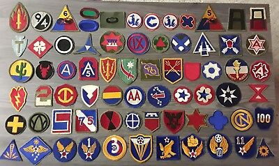 Original Ww2 Wwii Us Army Cut Edge Ssi Patch Lot Of 70 Patches No Glow Aaf Rare