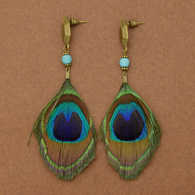 Women Ethnic Long Earrings Peacock Feather Earrings Vintage Bohemian Eardrops