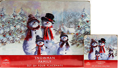 Set Of 8 Vintage Winter Snowman Christmas Dinner Place Mats And Coasters